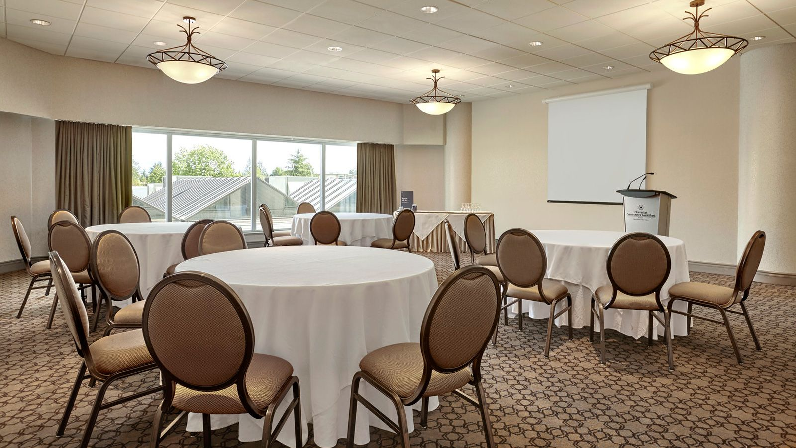 The Green Timbers Room at our Surrey, BC event space set up for a business meeting.